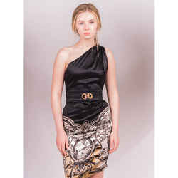 40 NEW $1,570 ROBERTO CAVALLI Black Silk Floral & Tiger Print Snake Buckle DRESS