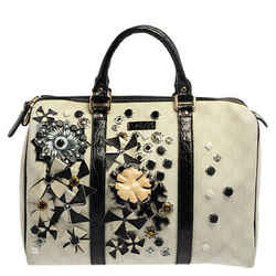 Gucci White GG Coated Canvas Floral Applique Joy Boston Bag