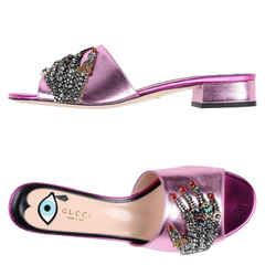 Gucci Sequin Sandals Hand Embellishment Pink 8 Authenticity Guaranteed
