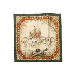 Beige & Multicolor Hermes 'Le Debuche' Motif Silk Scarf