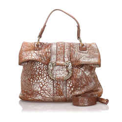 Vintage Authentic Bvlgari Brown Calf Leather Metallic Leoni Satchel Italy