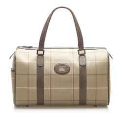 Vintage Authentic Burberry Brown Plaid Canvas Duffle Bag United Kingdom