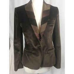Dolce & Gabbana Sz 42  Brown Cotton Silk Velvet Evening Jacket Nwot 2131-2-4719