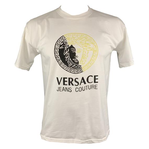 Versace Jeans Couture Size L White Logo Cotton Crew-neck T-shirt
