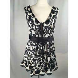 Dolce & Gabbana Sz 40 Black & White Floral Ruffle Silk Blouse 1-312-41819