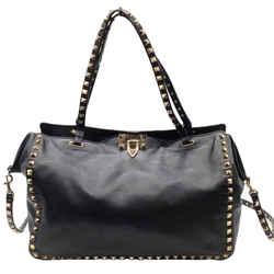 Valentino Medium Gold Rockstud Black Leather Shoulder Bag