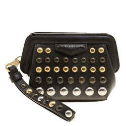 Marc by Marc Jacobs Dark Brown Leather Studded Thunderdome Clutch