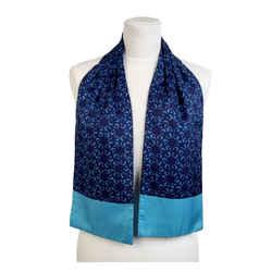 Hermes Paris Vintage Blue Silk Ascot Scarf Fish Print