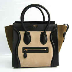 Celine Luggage Micro Shopper 167793 Women's Leather,Suede Handbag Black BF519247