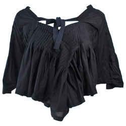 COMME DES GARCONS Black Drape Pleated Blouse with Tie Size M
