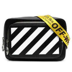 New Off-white Black Stripe Leather Belt Bag Fanny Pack