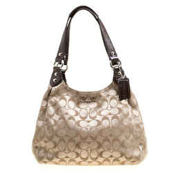 Coach Beige/Brown Signature Fabric Shoulder Bag