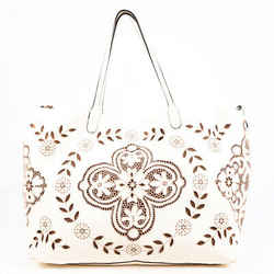 Valentino Bag White Lace Embroidered Leather Tote