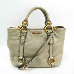 Miu Miu RN0685 Women's Leather Handbag,Shoulder Bag Gray Beige BF517066