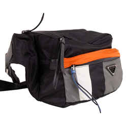 NEW $1,270 PRADA Black Sporty Gray & Orange Nylon and Saffiano Leather Bag