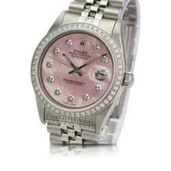 Rolex Datejust Pink MOP Diamond Dial Diamond Bezel 36mm Watch