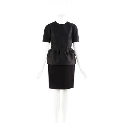Balenciaga Dress Black Short Sleeve Peplum SZ 38