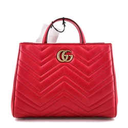Gucci Gg Marmont Small Top Handle Bag Red Hibiscus
