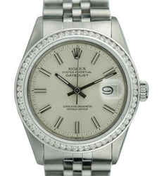 Rolex Mens Datejust Steel  36mm Silver Dial Diamond Bezel Watch