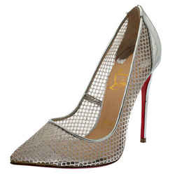 Christian Louboutin Silver Mesh and Leather Follies Resille Pointed Toe Pumps