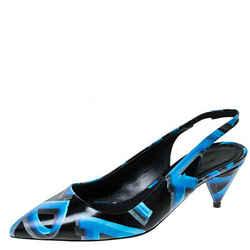 Burberry Black/Blue Leather Morson Slingback Sandals Size 38