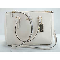 Coach White Double Zip Leather Bag