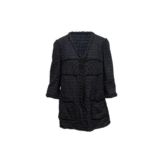 Black & Navy Chanel Tweed V-neck Jacket