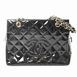 Auth Chanel Chanel Patent Coco Mark Chain Tote Bag Black