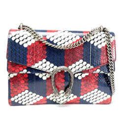 Gucci Red, White, & Blue Geometric Python Dionysus Shoulder Bag