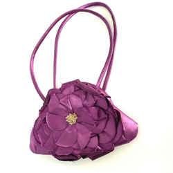 Escada Vintage Purse Bag Purple Raw Satin Flower Beads Frame Crossbody Bag