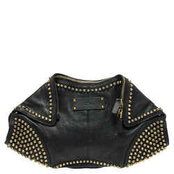 Alexander McQueen Black Leather Studded De Manta Clutch