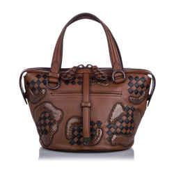 Brown Bottega Veneta Paisley Checker Tambura Leather Satchel Bag