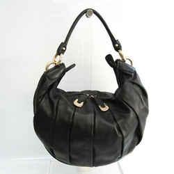 Bally LU-N Women's Leather Shoulder Bag Black BF533546