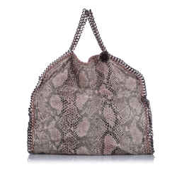 Vintage Authentic Stella McCartney Brown Falabella Python Fold-Over Tote ITALY