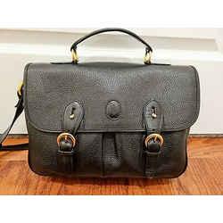Mark Cross Vintage Black Pebbled Leather Book/messenger Bag W/gold Hardware