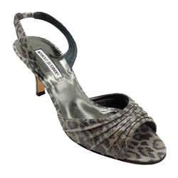 Manolo Blahnik Grey Metallic Leopard Print Slingback Sandals