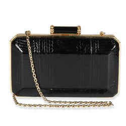 Judith Leiber Black Elaphe & Gold Crystal Solo Clutch