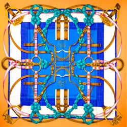 Grand Manege Hermes Scarf By Henri D'origny 90 Cm Silk Blue & Yellow Cw