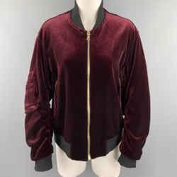 Sandro Size L Burgundy Velvet Bomber Jacket