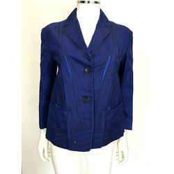 Jil Sander Bright Blue Black Distressed Lines Light Jacket Blazer Coat Sz 6