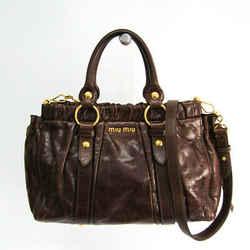 Miu Miu RT0383 Leather Shoulder Bag Brown BF340783