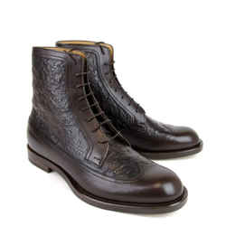 Gucci 322508 Men's Ostrich Leather Lace-up Ankle Boots Gucci 7 / Us 8 - Sale