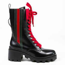 Gucci Combat Boots Black Web Stripe Patent Leather Lug Sole SZ 39