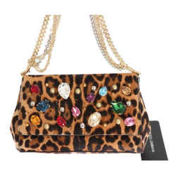 New Leopard Print Crystal Shoulder Bag