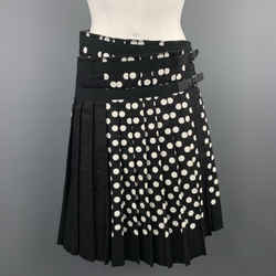 Comme Des Garcons Size S Black & White Polka Dot Pleated Leather Strap Kilt Skiirt