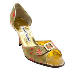 Manolo Blahnik Gold and Coral Brocade Peep Toe Pumps