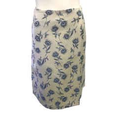 Tory Burch Ivory/Navy Linen Skirt