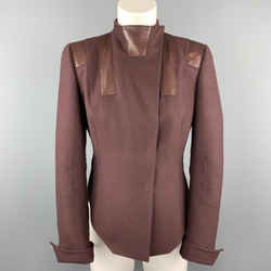 Akris Size 8 Burgundy Cashmere Leather Panel High Neck Jacket