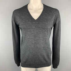 Prada Size 42 Grey Heather Cotton / Cashmere V-neck Pullover Sweater