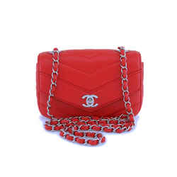 Chanel Red Caviar Classic Chevron Mini Flap Bag SHW